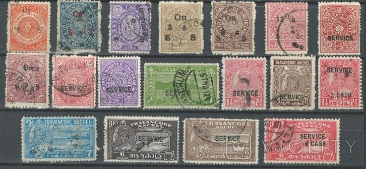 Бв03 Индийские княжества. Траванкур 1932-1944, 18 служебных марок без повторов