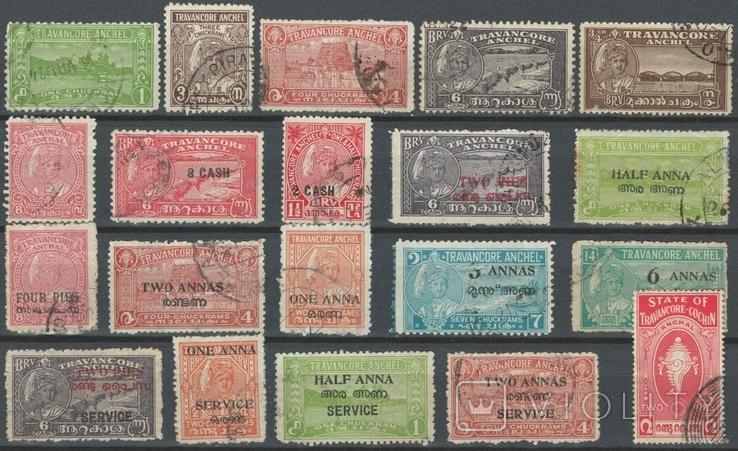 Бв04 Индийские княжества. Траванкур 1932-1944, 20 марок без повторов