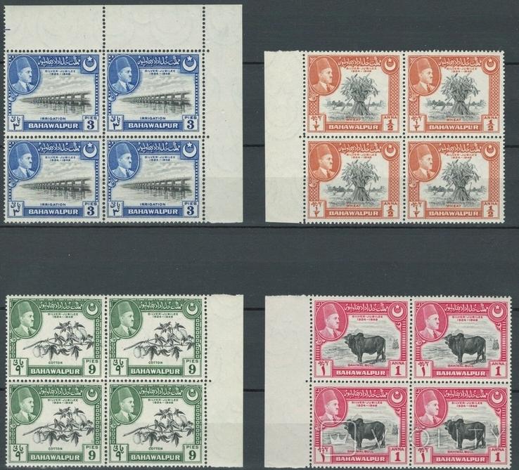 Бг01 Инд. княжества. Бахавалпур 1949 №№22-25** (полная серия, квартблоки MNH, 24 е)