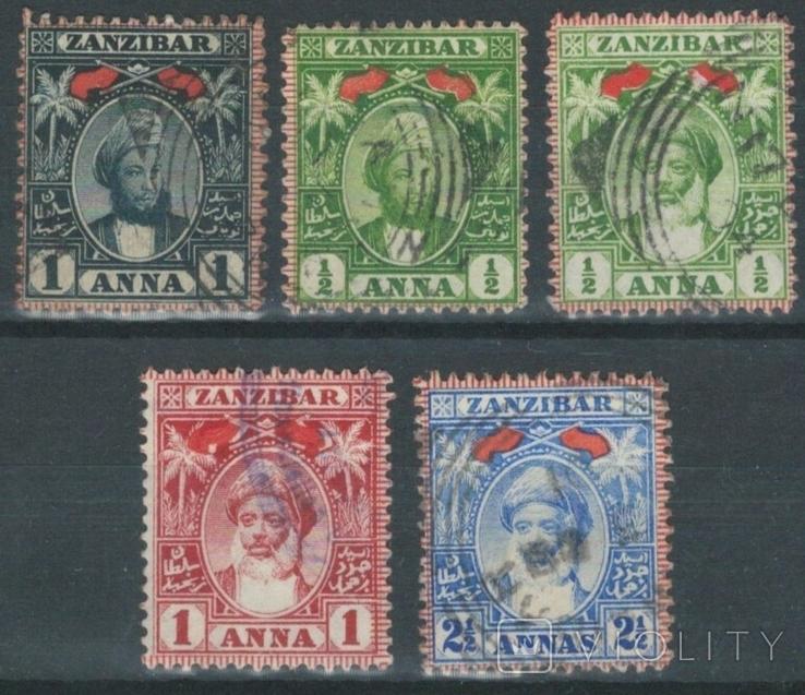 Бд04 Британские колонии. Занзибар 1898-1899 №№ 41-42, 51, 53 и 55