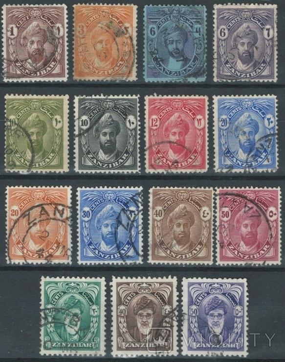 Бд07 Британские колонии. Занзибар 1922-1941 (15 марок без повторов)