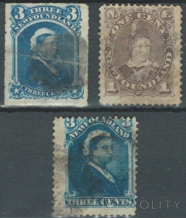 Бе01 Британские колонии. Ньюфаундленд 1877-1880 №№ 29, 31 и 33 (26 евро)