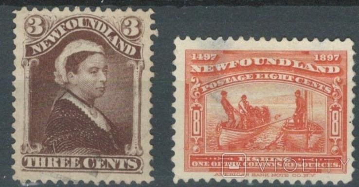 Бе04 Британские колонии. Ньюфаундленд 1887-1897 №№ 38 и 50 (16 евро)