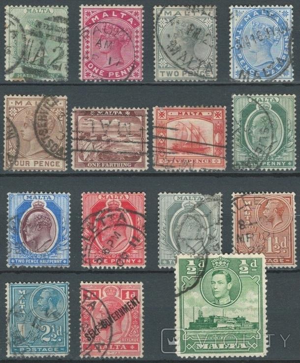 Бе16 Британские колонии. Мальта 1885-1937 (33 евро, 15 марок без повторов)