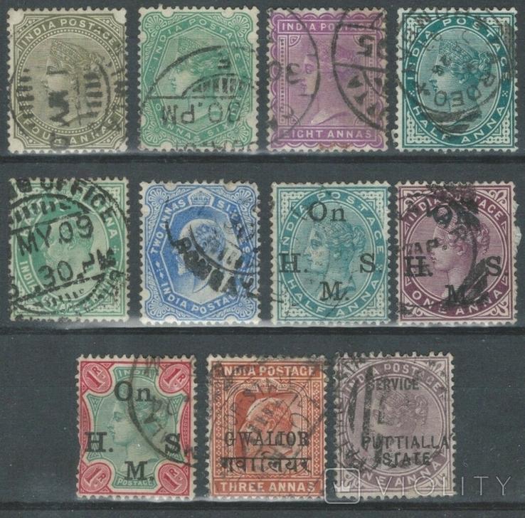 Бж10 Брит. колонии. Британская Индия, Гвалиор, Паттияла 1882-1903 (11 марок без повторов)
