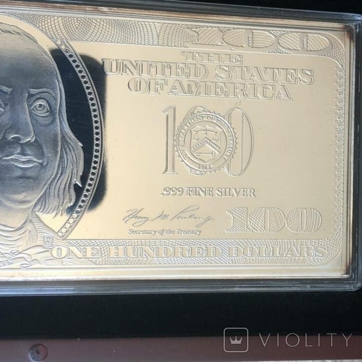 Серебряная Банкнота 100 долларов США 2009 год.4 унции серебра 999.9 пробы., фото №3