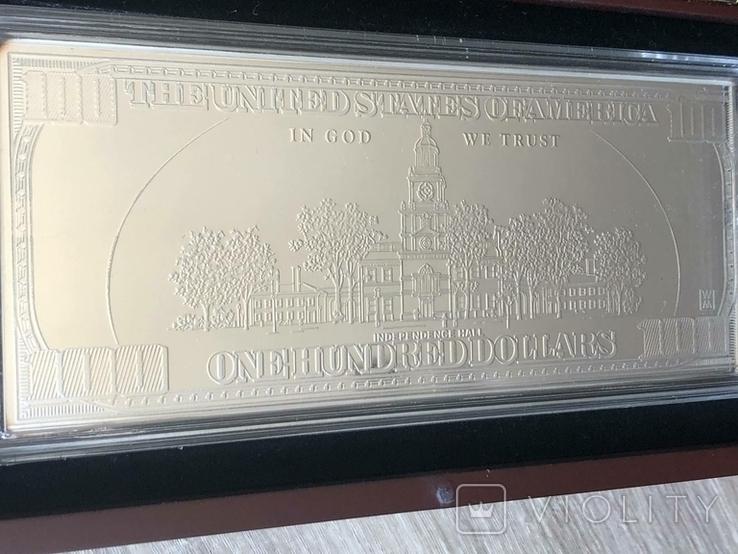 Серебряная Банкнота 100 долларов США 2009 год.4 унции серебра 999.9 пробы., фото №5