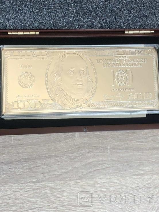Серебряная Банкнота 100 долларов США 2009 год.4 унции серебра 999.9 пробы., фото №8