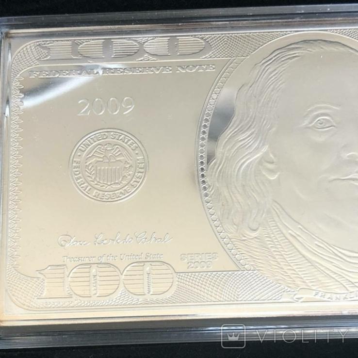 Серебряная Банкнота 100 долларов США 2009 год.4 унции серебра 999.9 пробы., фото №10