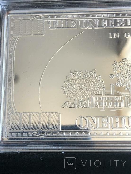 Серебряная Банкнота 100 долларов США 2009 год.4 унции серебра 999.9 пробы., фото №11