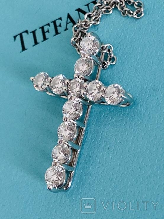 TiffanyCo платиновый крестик с цепочкой и бриллиантами, фото №2