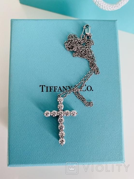 TiffanyCo платиновый крестик с цепочкой и бриллиантами, фото №3