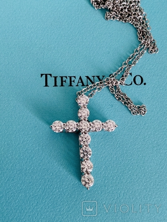 TiffanyCo платиновый крестик с цепочкой и бриллиантами, фото №4