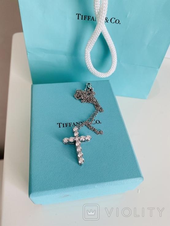 TiffanyCo платиновый крестик с цепочкой и бриллиантами, фото №5