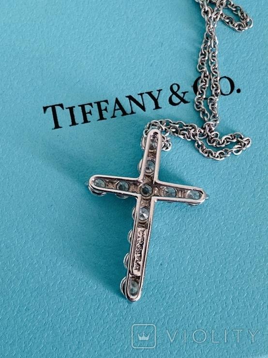 TiffanyCo платиновый крестик с цепочкой и бриллиантами, фото №6