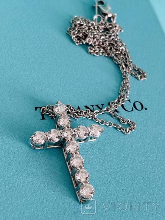 TiffanyCo платиновый крестик с цепочкой и бриллиантами, фото №7