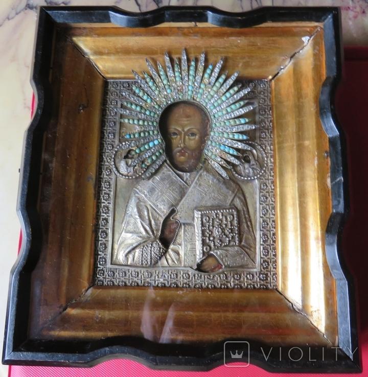 Икона Св.Николая ''На память отъ 12 гренадёрского полка/ 200 летъ., фото №2