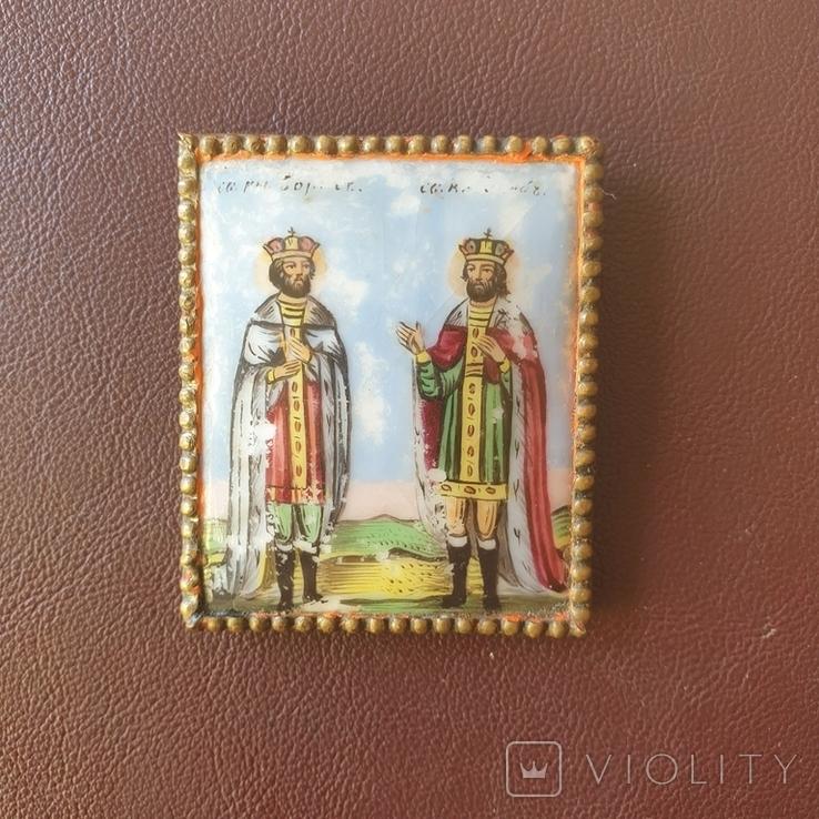 Финифть 2 святых 19 век, фото №2