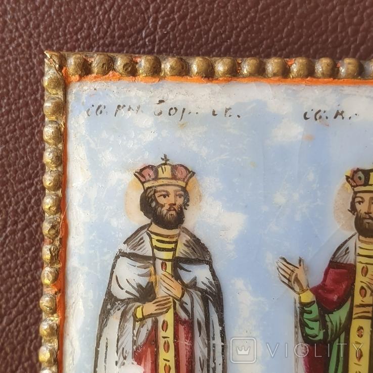 Финифть 2 святых 19 век, фото №4