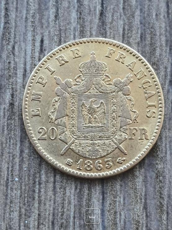 20 франків 1863 B року, фото №2