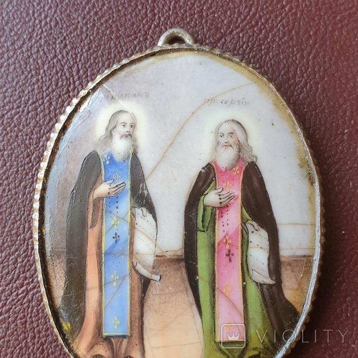 Финифть пр Никон и пр Сергий, фото №4
