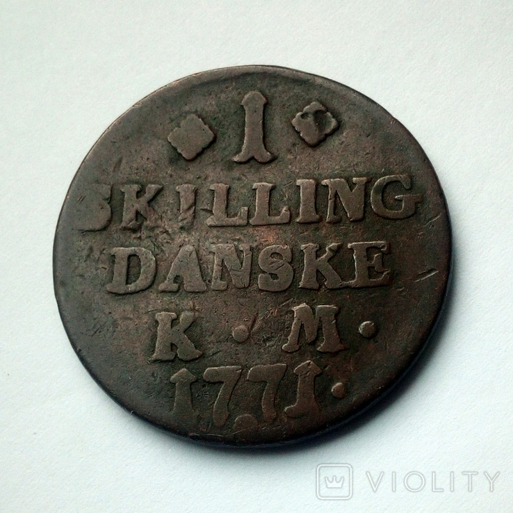 Дания 1 скиллинг 1771 г. Кристиан VII, фото №2