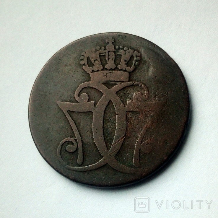 Дания 1 скиллинг 1771 г. Кристиан VII, фото №3