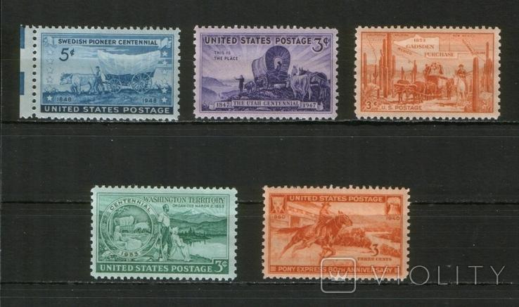 1940-53 США Освоение Америки, юбилеи, фауна, лот 5 шт.