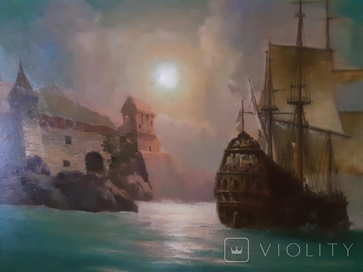 "Картина ""Лунная гавань"" Анатолий Недобежкин , 2004 год , масло, холст., фото №2"