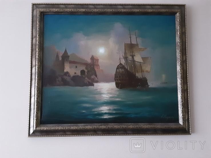 "Картина ""Лунная гавань"" Анатолий Недобежкин , 2004 год , масло, холст., фото №4"
