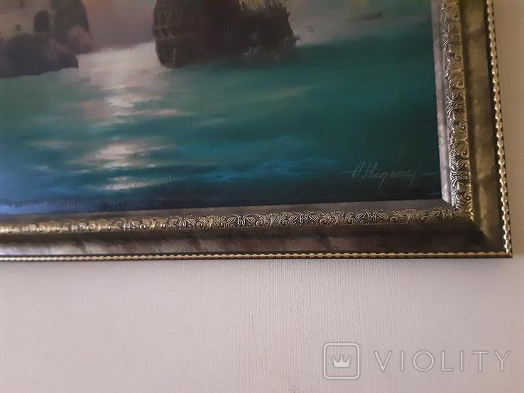 "Картина ""Лунная гавань"" Анатолий Недобежкин , 2004 год , масло, холст., фото №5"