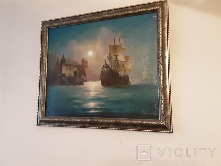 "Картина ""Лунная гавань"" Анатолий Недобежкин , 2004 год , масло, холст., фото №6"