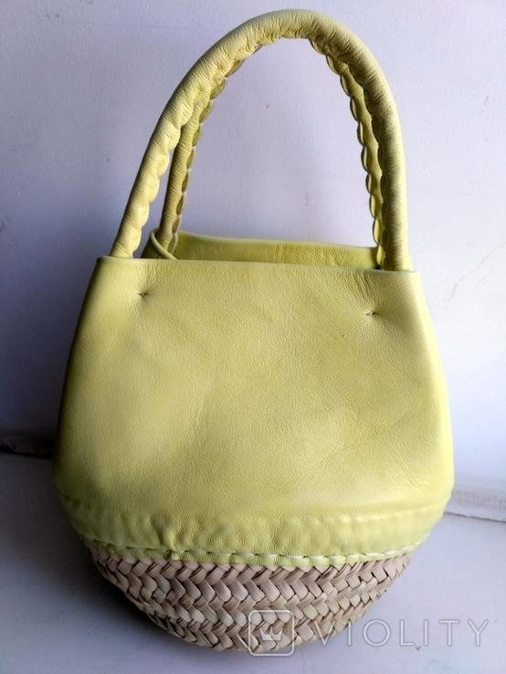 Эко-сумка плетёная, и натуральной кожи., фото №2