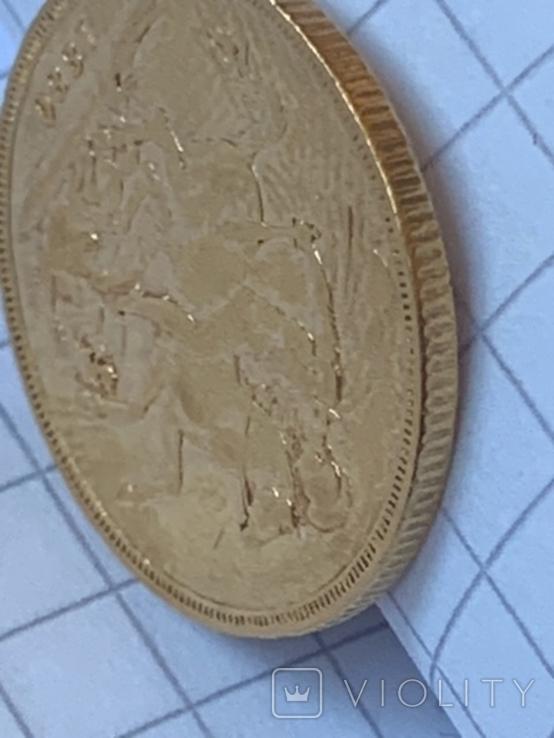Великобритания золотой соверен 1880 г., фото №8