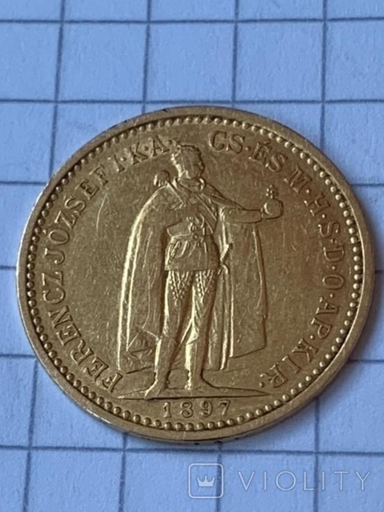 Венгрия 10 корон 1897 г., фото №2