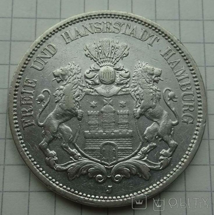 5 марок, 1896 год, Гамбург,, фото №2