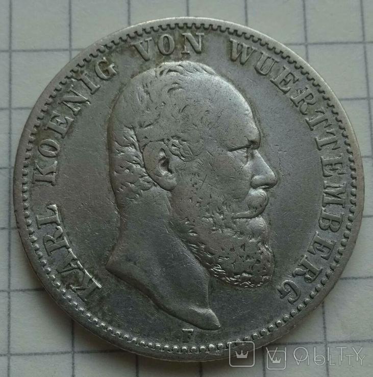 2 марки. Вюртемберг, 1877 год., фото №5