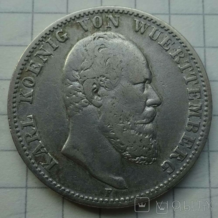 2 марки. Вюртемберг, 1877 год., фото №2
