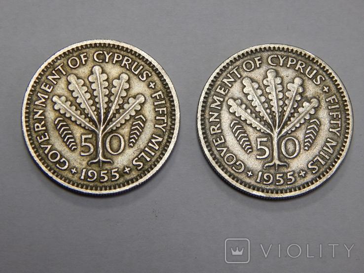 2 монеты по 50 милс, 1955 г Кипр, фото №2