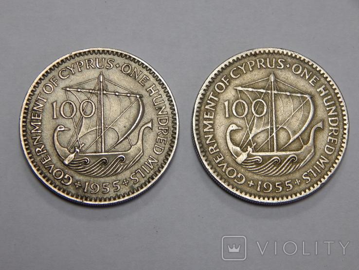 2 монеты по 100 милс, 1955 г Кипр, фото №2