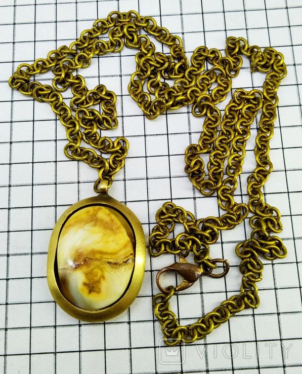 Кулон янтарь пейзажный в бронзе, 19.65 грам, фото №2