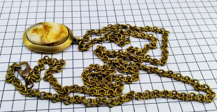 Кулон янтарь пейзажный в бронзе, 19.65 грам, фото №5