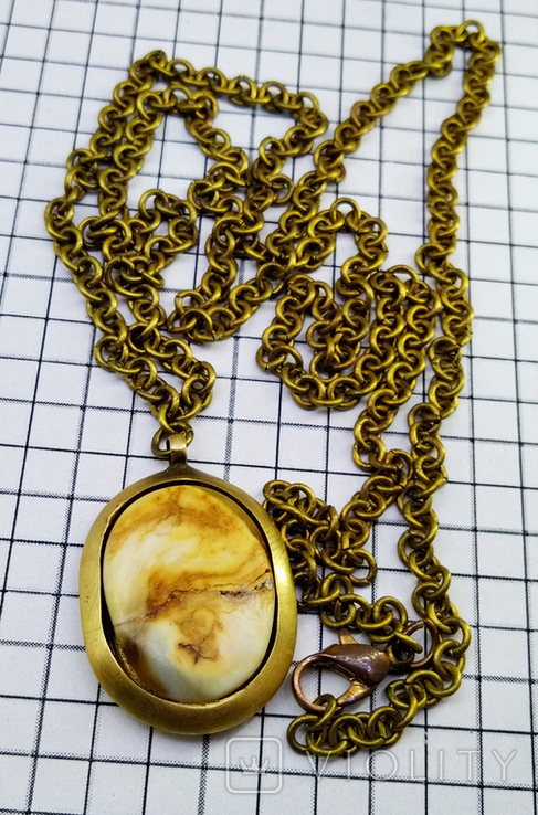 Кулон янтарь пейзажный в бронзе, 19.65 грам, фото №8