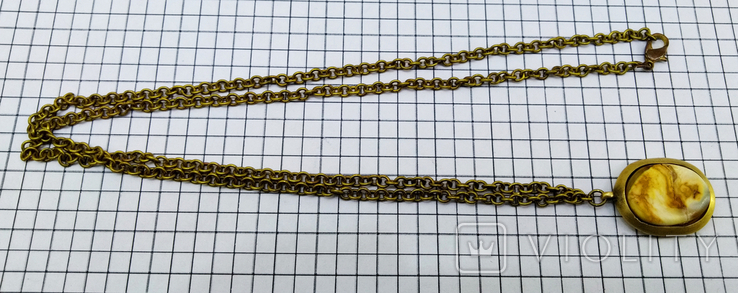 Кулон янтарь пейзажный в бронзе, 19.65 грам, фото №10