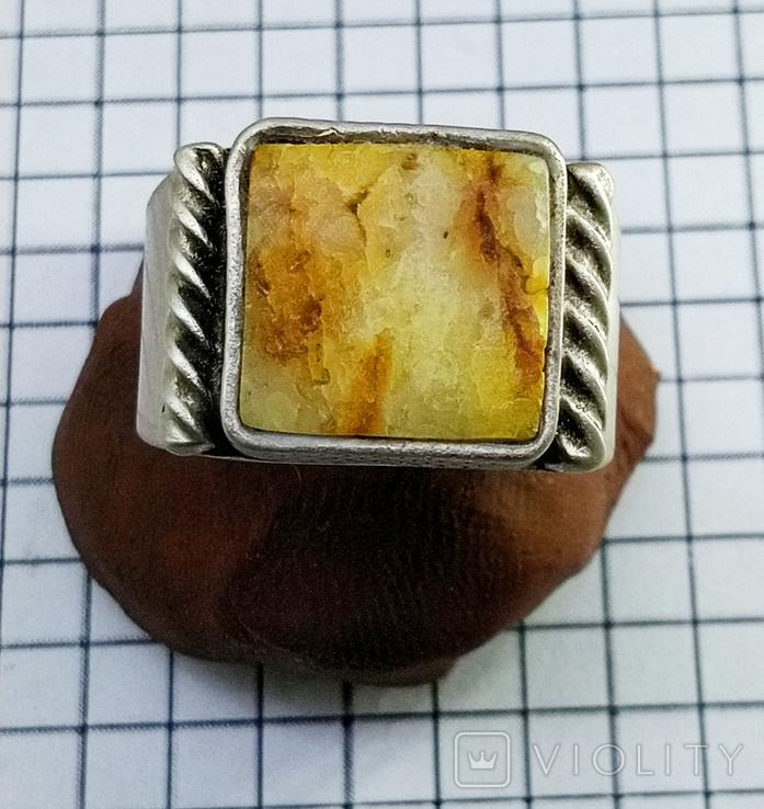 Перстень 8 грамм. Янтарь пейзажный, фото №2