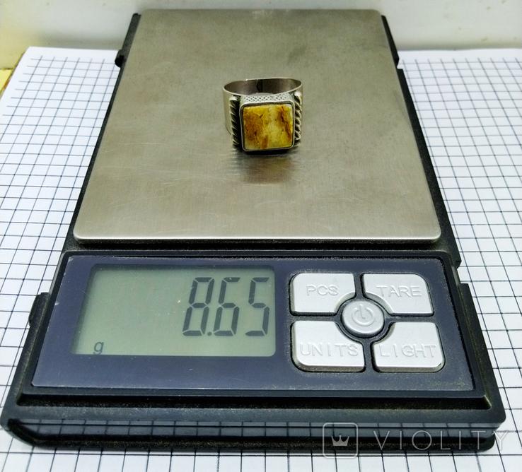 Перстень 8 грамм. Янтарь пейзажный, фото №3