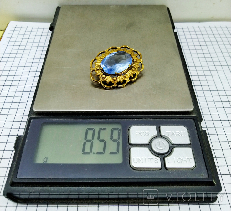 Брошь латунь с камнем. СССР, фото №5