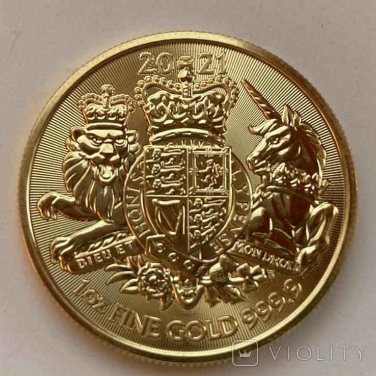 100 фунтов 2021 г. Британия (31,1 г. 999,9), фото №3