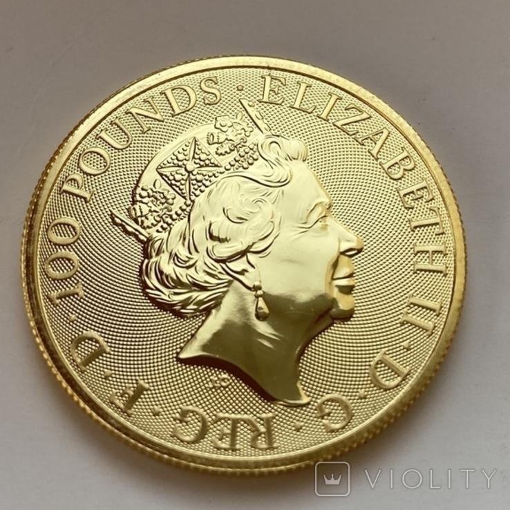 100 фунтов 2021 г. Британия (31,1 г. 999,9), фото №4