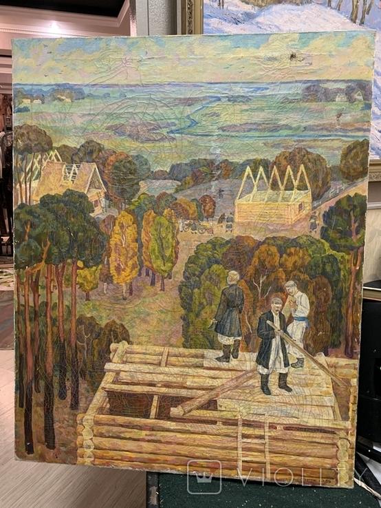 Большая картина СССР На стройке 1970 е гг. Снопков Г.А., фото №2